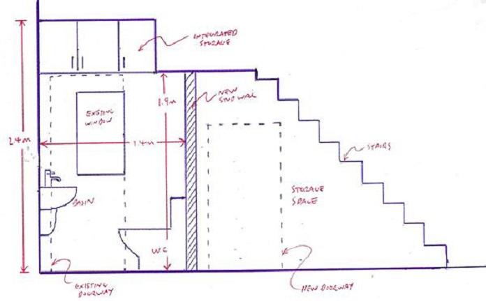 Bản vẽ mẫu nhà vệ sinh dưới gầm cầu thang nhỏ đầy tiện lợi
