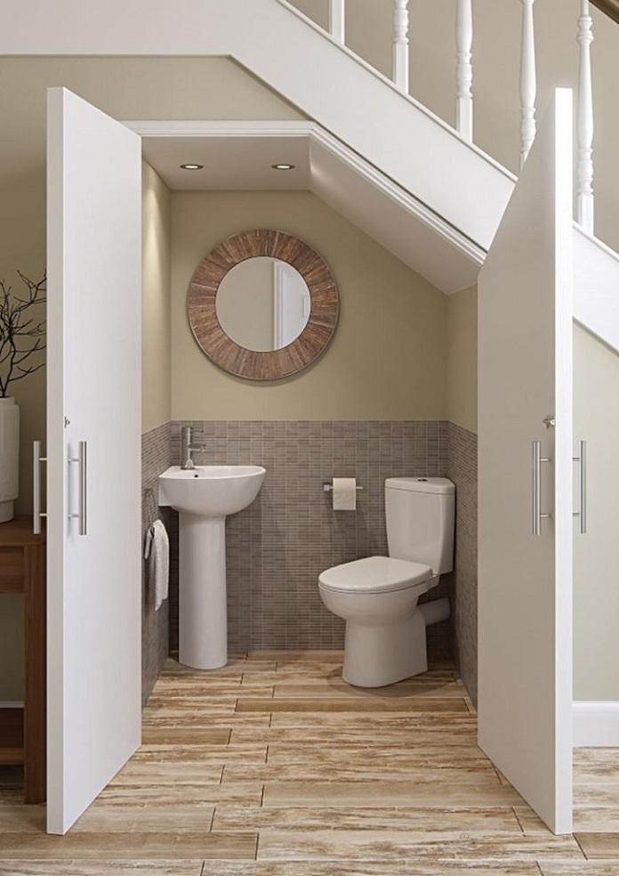 Một số mẫu thiết kế nhà vệ sinh dưới gầm cầu thang nhỏ gọn nhưng đầy tiện nghi