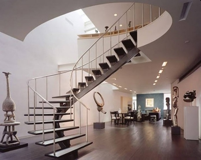 Mẫu cầu thang uốn lượn mềm mại cho căn nhà nhỏ hiện đại