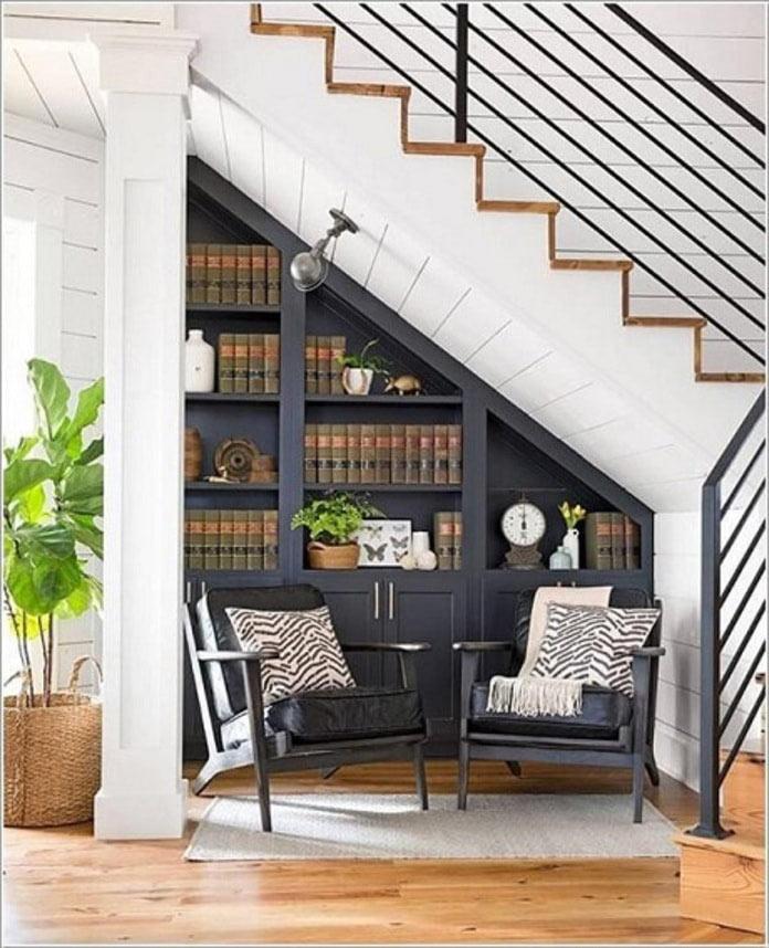 Thiết kế cầu thang cầu thang tích hợp kệ sách