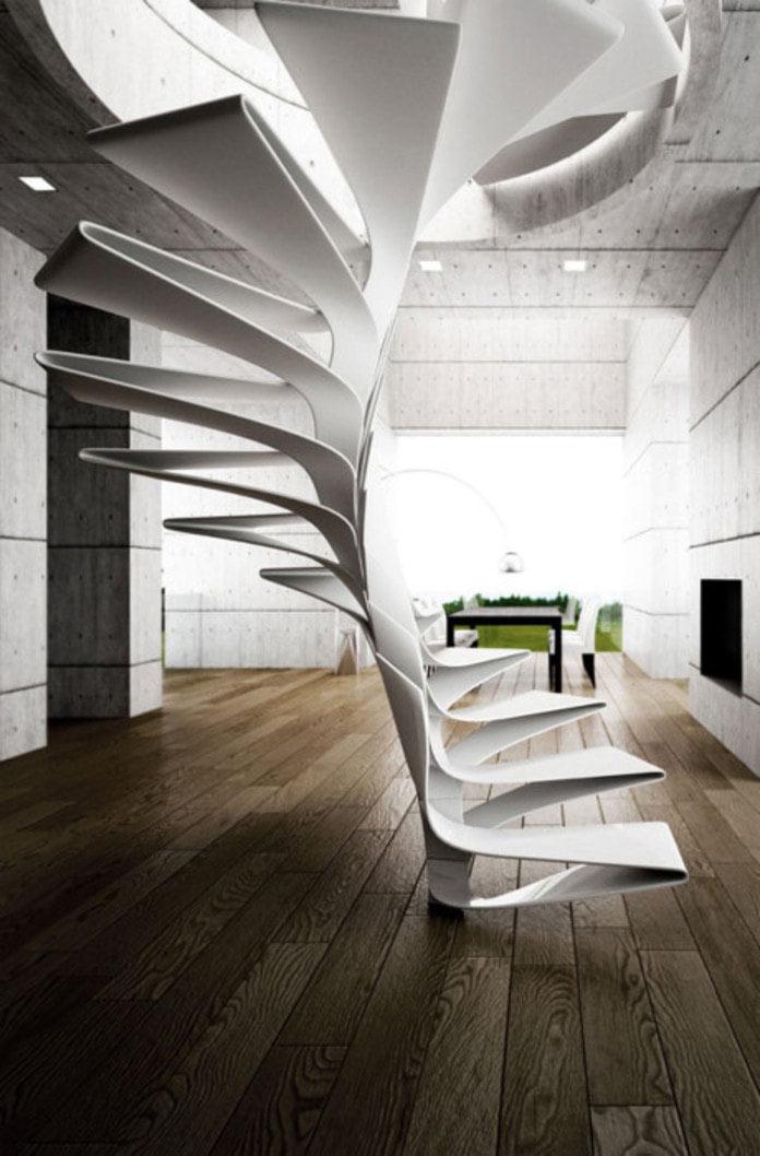 Thiết kế cầu thang kim loại phá cách hiện đại