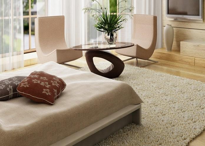 Thảm trải sàn rất có ích trong việc decor phòng ngủ